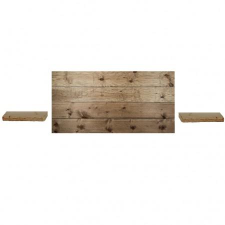 Pack composto por uma cabeceira e duas mesinhas de cabeceira em madeira  envelhecido