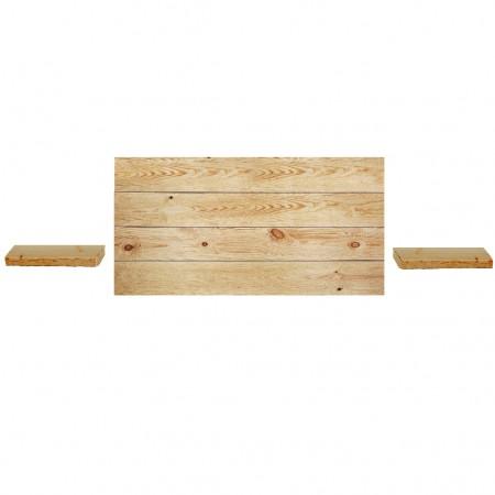 Pack composto por uma cabeceira e duas mesinhas de cabeceira em madeira oliveira