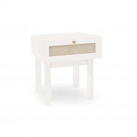 Mesa de cabeceira com caixa vertical e prateleira natural