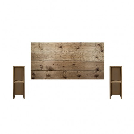 Pack de cabeceira horizontal e mesas Lina envelhecido