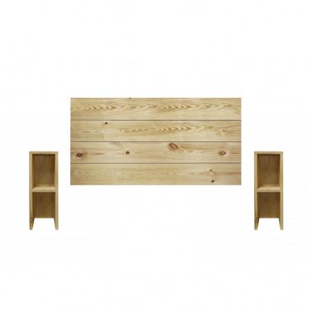 Pack de cabeceira horizontal e mesas Lina oliva