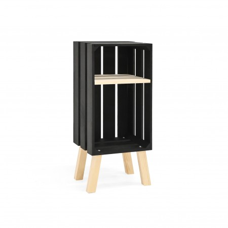 Mesa de cabeceira Box vertical preta
