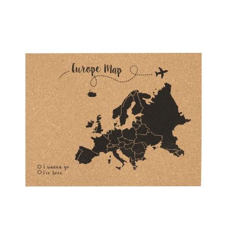 Cortiça mapa da Europa preto