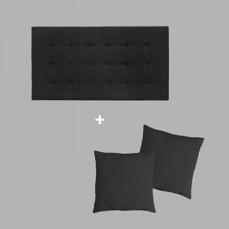 Pack estofado pregas preto