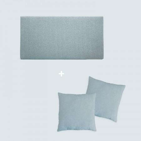 Pack estofado verde azulado liso