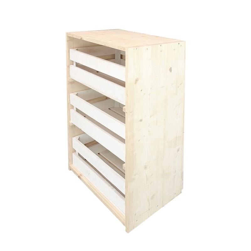 Comoda caixas natural e branca