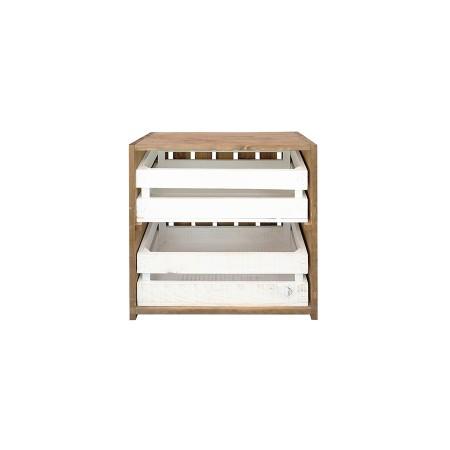 Mesa de cabeceira caixas envelhecida e branca