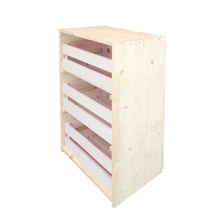 Comoda caixas natural e rosa pastel