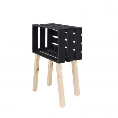 Mesa pequena caixa horizontal pintada de preto