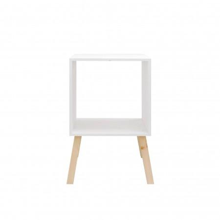 Mesa de cabeceira  quadrada pintada de branco