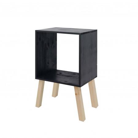 Mesa de cabeceira  quadrada pintada de ardósia