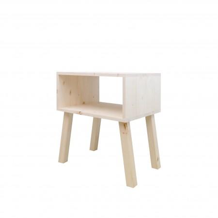 Mesa de cabeceira de abeto rectangular com acabamemto natural