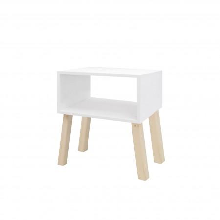 Mesa de cabeceira  rectangular quadrada pintada de branco