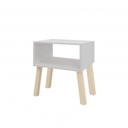 Mesa de cabeceira rectangular pintada de cinzemto claro