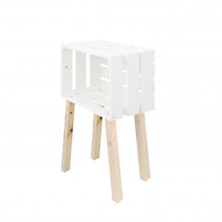 Mesa pequena caixa horizontal pintada de branco
