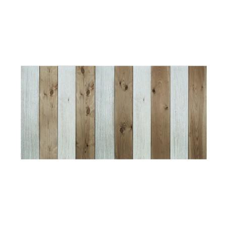 Cabeceira de madeira vintage verde-azulada e envelhecidas
