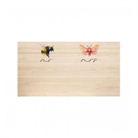 Cabeceira de madeira natural Bee & Butterfly