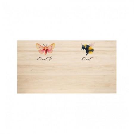 Cabeceira de madeira natural Butterfly & Bee