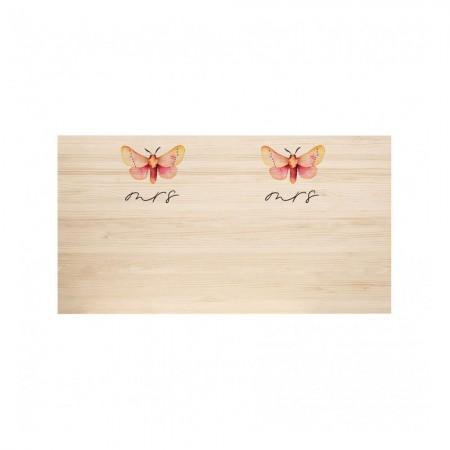 Cabeceira de madeira natural Butterfly & Butterfly