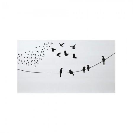 Cabeceira branco pássaros