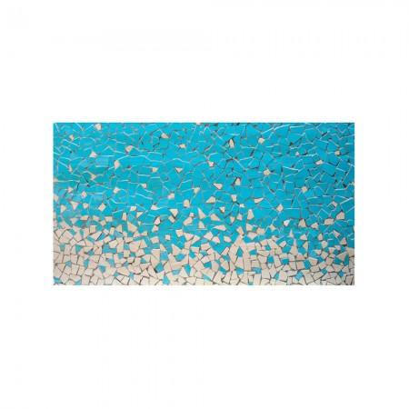 Cabeceira branca mosaico  azul