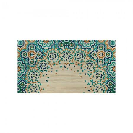 Cabecero natural mosaico naranja y azul