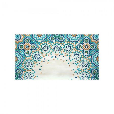 Cabeceira decapada mosaico laranja e azul