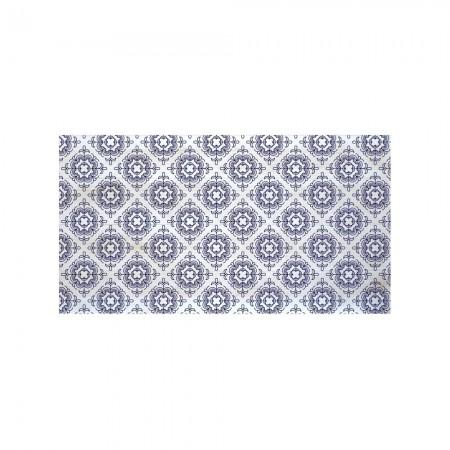 Cabeceira decapada branca mosaico azul