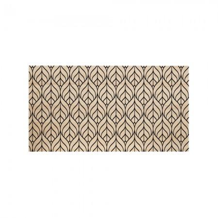 Cabeceira de madeira natural folha geométrica