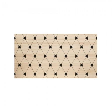 Cabeceira de madeira natural triângulos