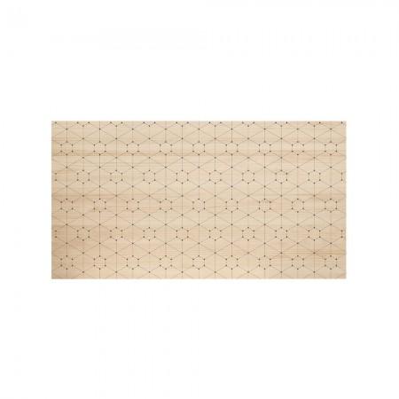 Cabeceira de madeira natural pontos e linhas