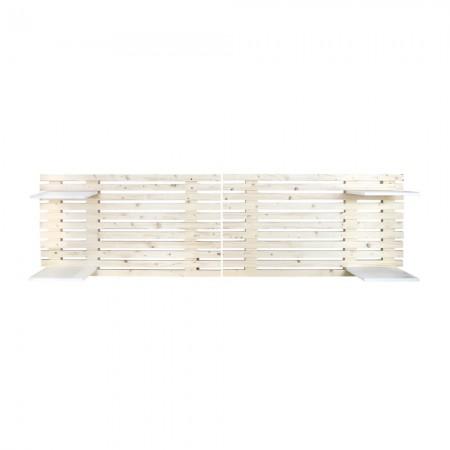 Cabeceira de lâminas de madeira