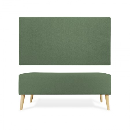 Cabeceira em poliéster liso verde + banqueta