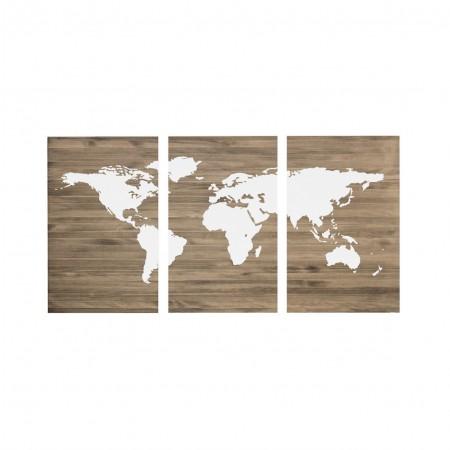 Cabeceira tríptica envelhecida mapamundi branco