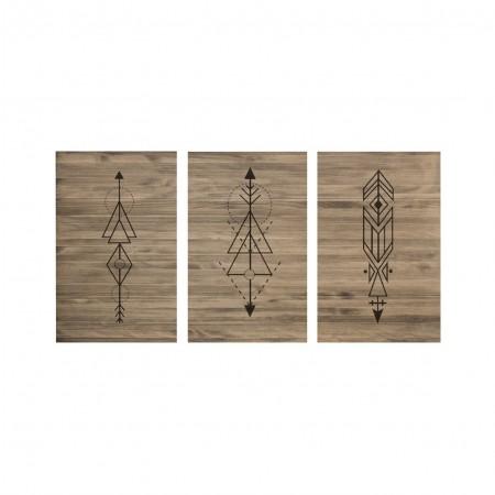 Cabeceira tríptica flechas geométricas