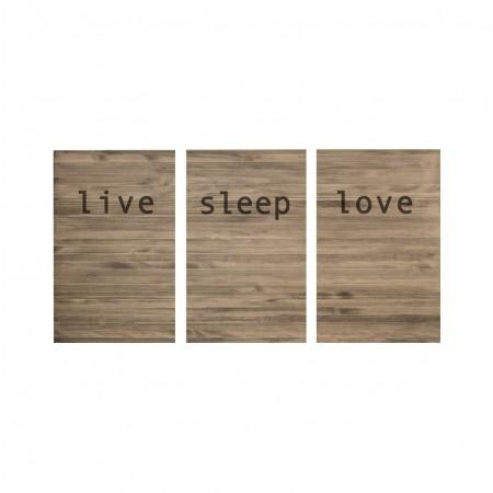Cabeceira tríptica envelhecida live love sleep