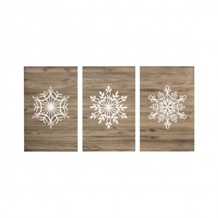 cabeceira tríptica envelhecida flocos de neve em branco