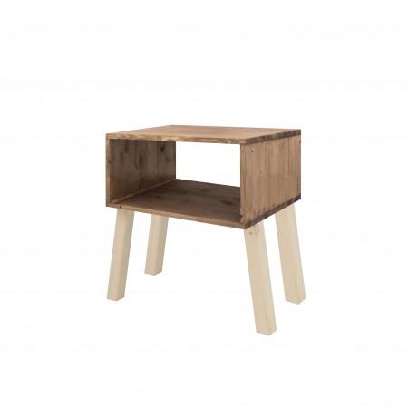 Mesa de cabeceira de abeto rectangular com acabamemto emvelhecido