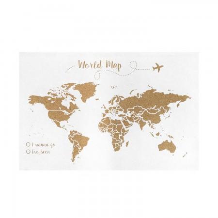 Cortiça  mapa do mundo fundo branco