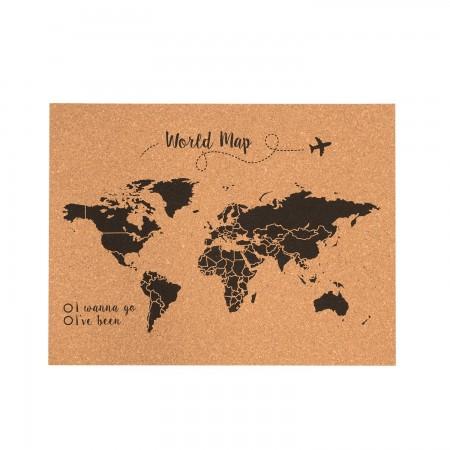 Cortiça mapa do mundo preto