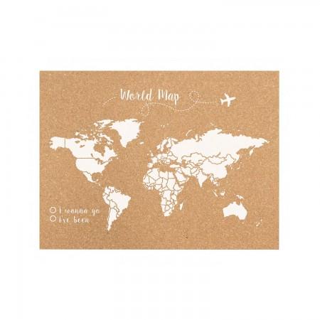 Cortiça  mapa do mundo branco