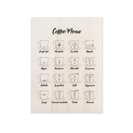 Caixa de madeira de menu de café
