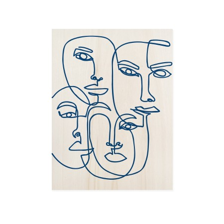 Caixa de madera Blue Faces