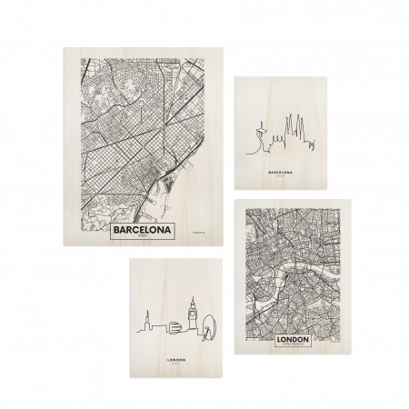 Pack de quadros Barcelona & London