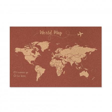 Cortiça mapa do mundo fundo terracota